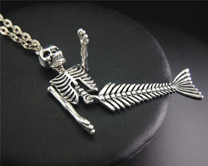 Mermaid Skeleton Halloween Pendant