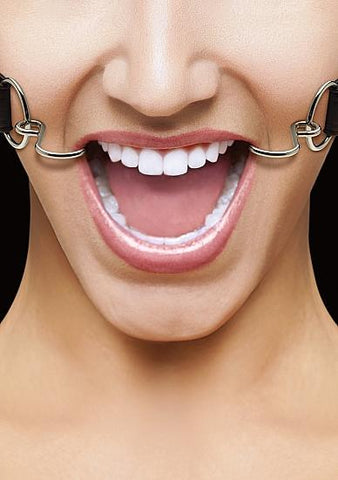 Ouch Hook Gag with Leather Straps Black O-S
