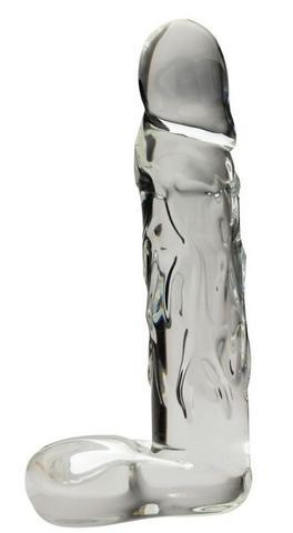 "Large 9"" Realistic Glass Dildo - Clear"