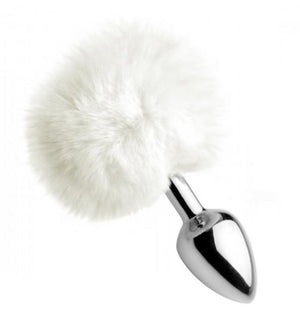 White Fluffy Bunny Tail Anal Plug