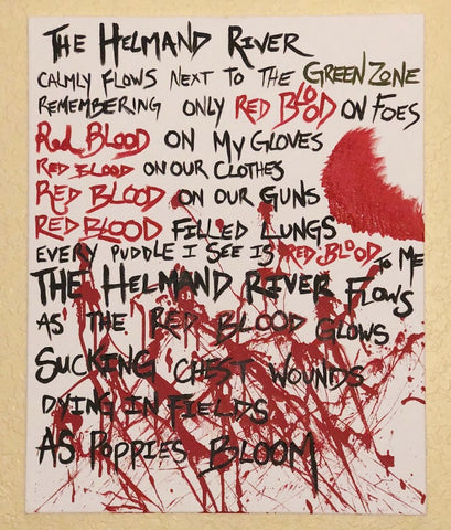 "Hand Painted ""Red Blood"" Poem On 24""x30"" Canvas"