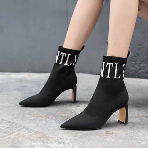 Square High Heel Ankle Boots Fashion Pointed Toe