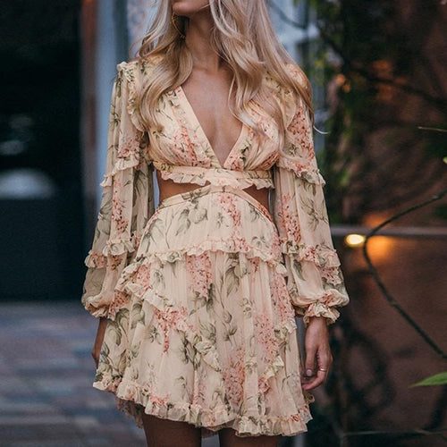 Elegant Hollow Out Ruffle Dress