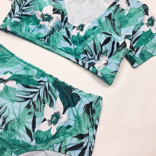 Brazilian Green Leaves Plus Size Swimsuit with Cover Up