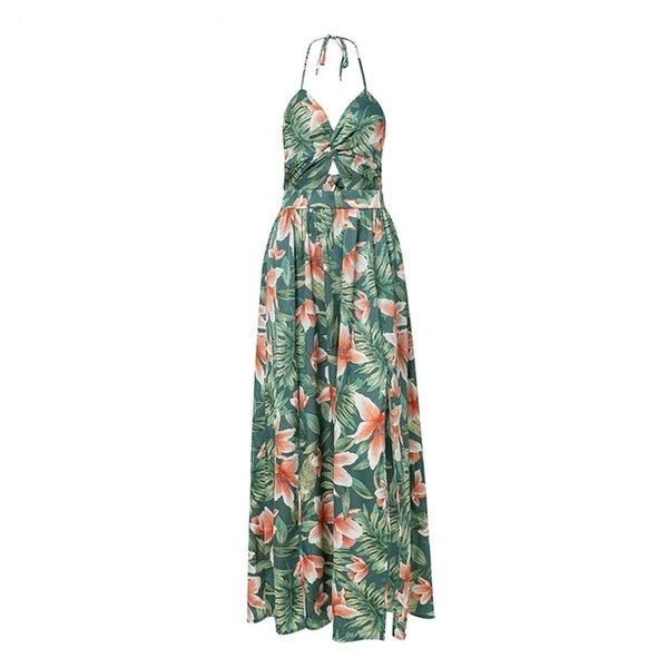 Sexy Floral Backless Long Dress