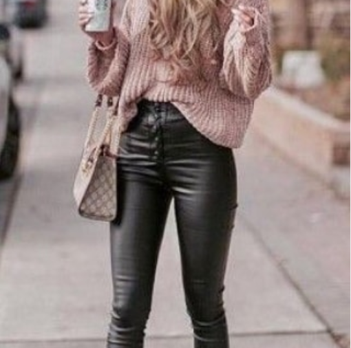 Black Leather Pencil Stretch Skinny Pants