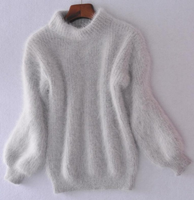 Thickened Mohair Turtleneck with Lantern Sleeve Sweater