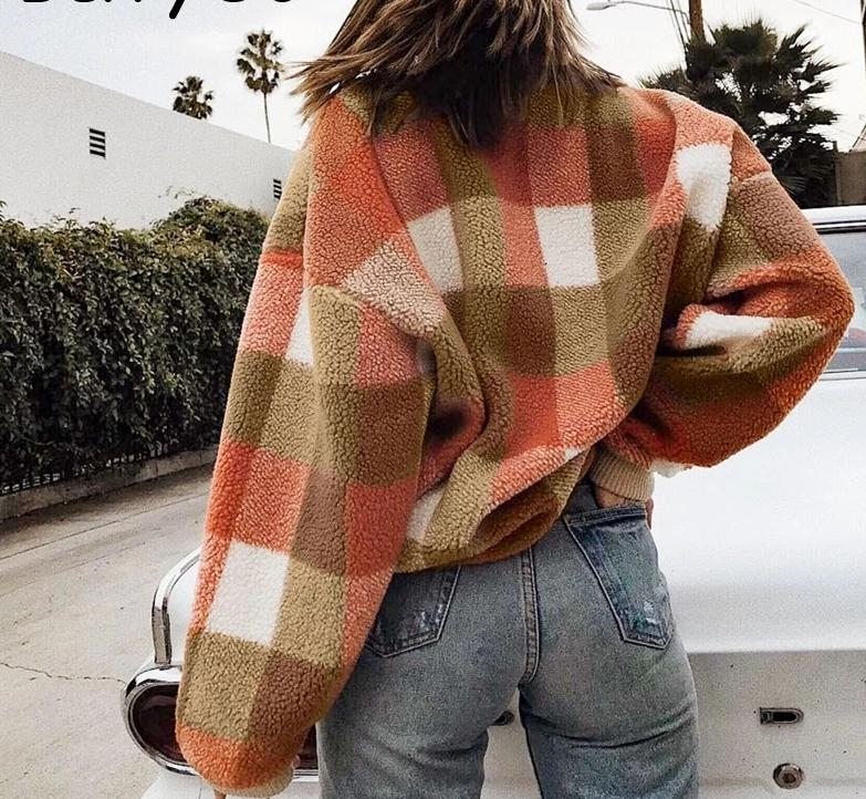 Lambswool Plaid  O-neck Loose Pullover Sweater