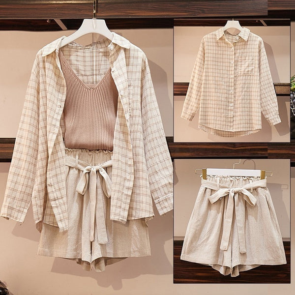 Plus Size 3 Piece Set Casual Linen Short Set