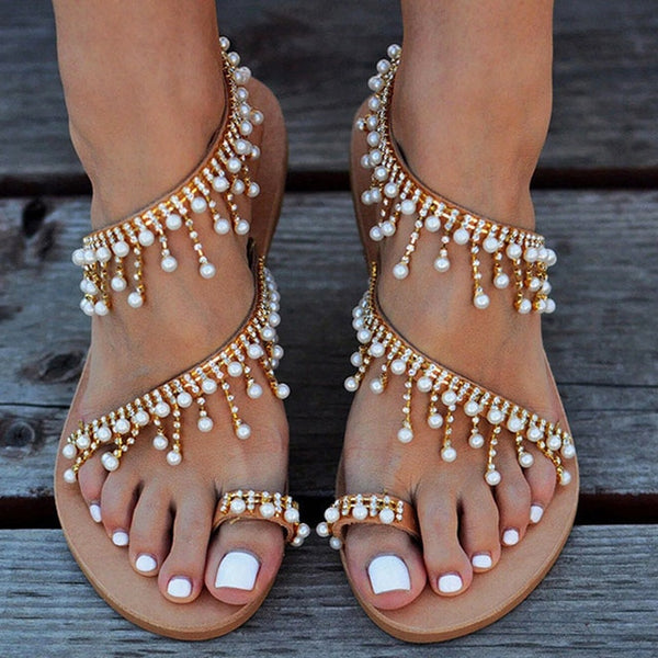 Flat Pearl String Bead Gladiator Sandals