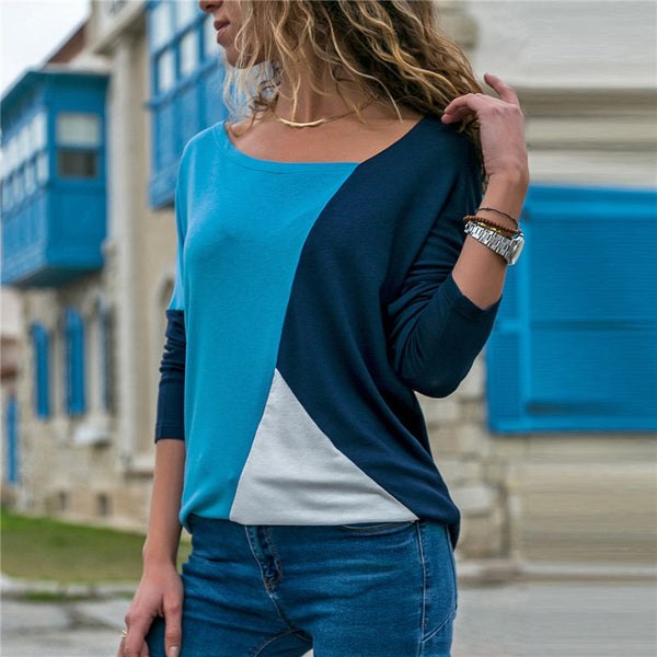 Casual Loose Long Sleeve V-Neck T-Shirt