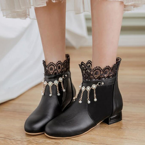 Lace Cuff Beadings Ankle Boots