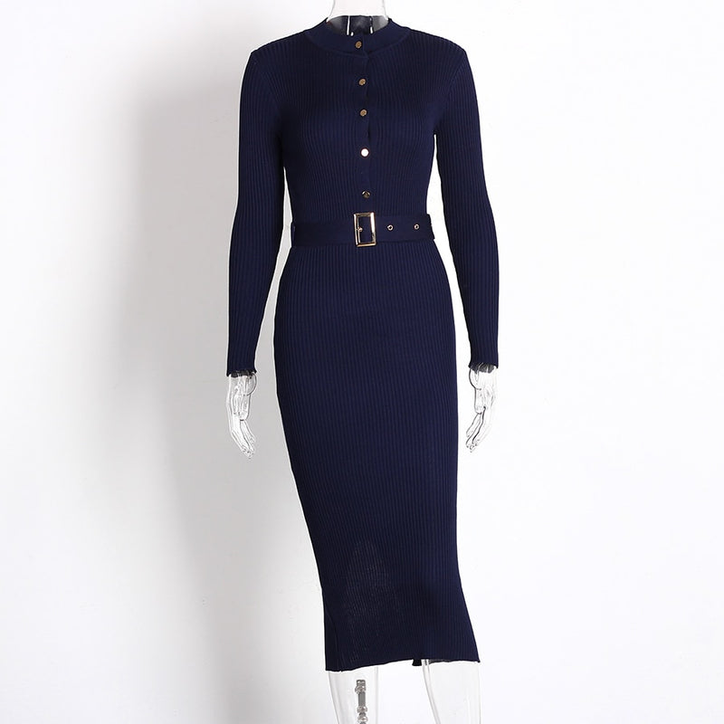 Knitted Button Long Sleeve Pencil Dress