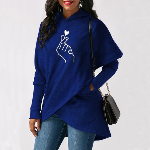 Love Hand Print Long Sleeve Pullover Hoodie in Sizes S-5XL