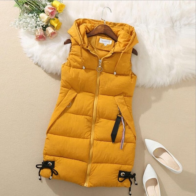Plus Size Hooded Winter Vest