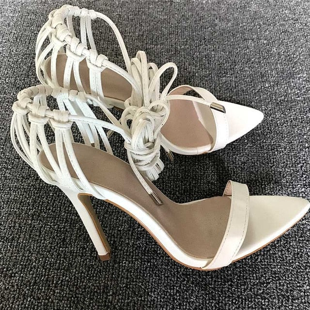 Leather Lace-Up Knot Stiletto Heel Sandals