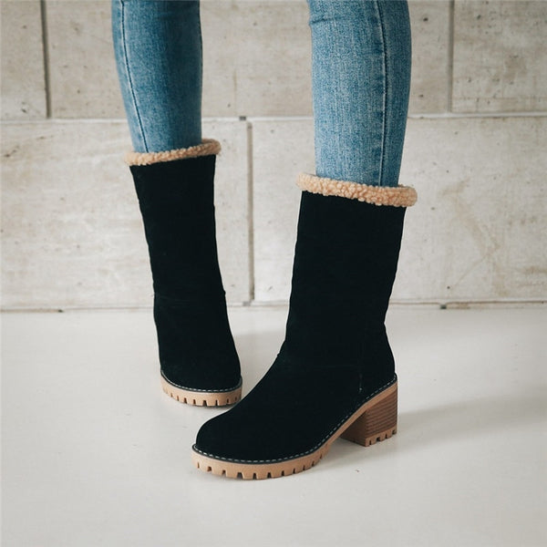 Waterproof Ankle Boots Furry Plush Suede