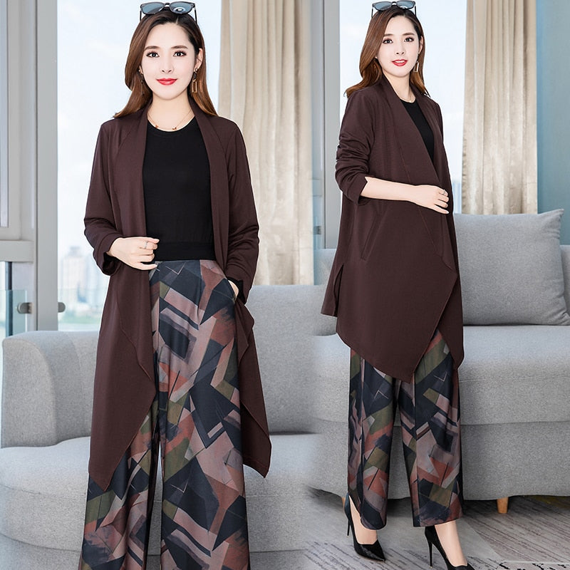 3 Piece Suit Top +Cardigan + Print Wide Leg Pant in M-3XL