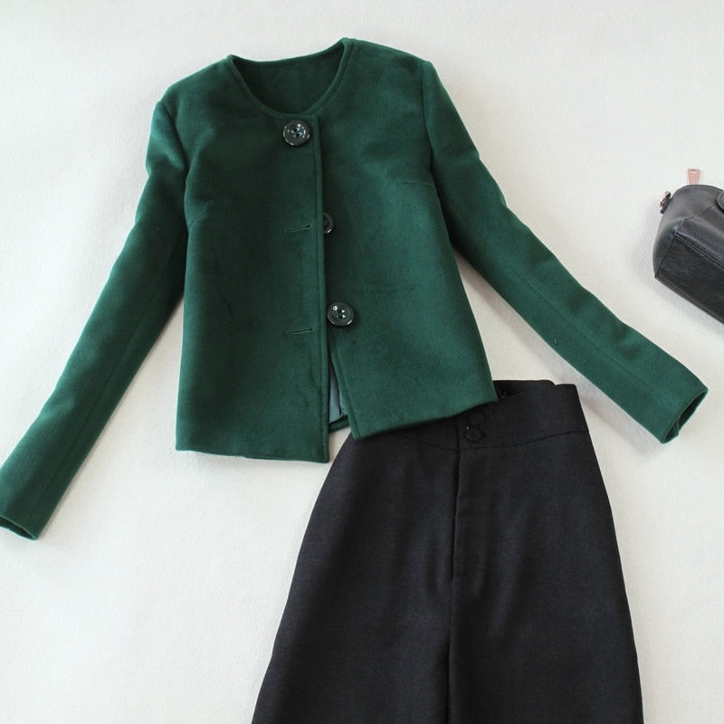 Two Pieces Set Elegant Green Jacket + High Waist Wide Leg Pants