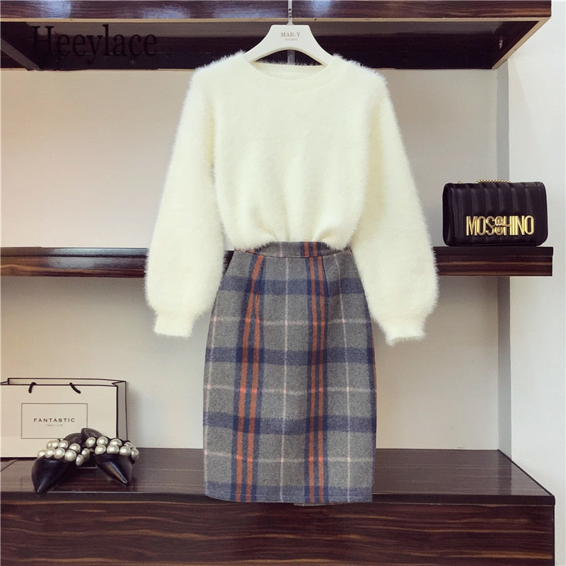 Plus Size Loose Lantern Sleeves Mink Sweater and Skirt 2 Piece Sets