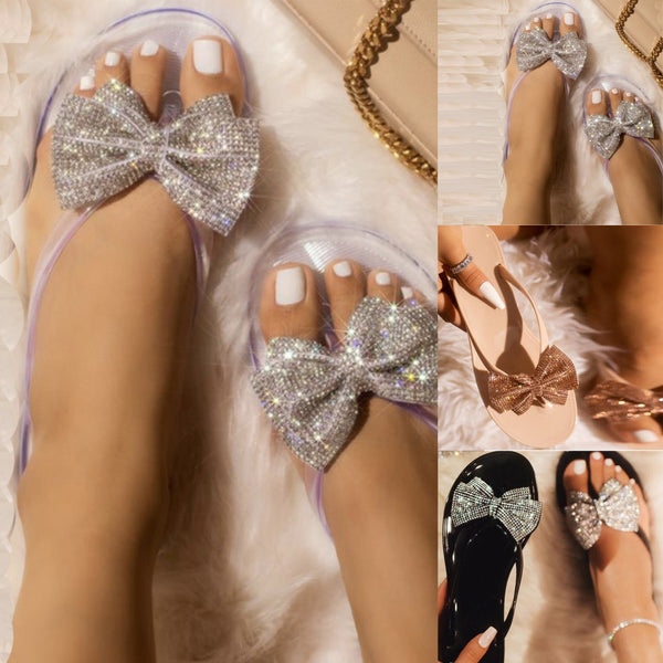 Sequins Bow Flip-Flops Flat Jelly Sandals