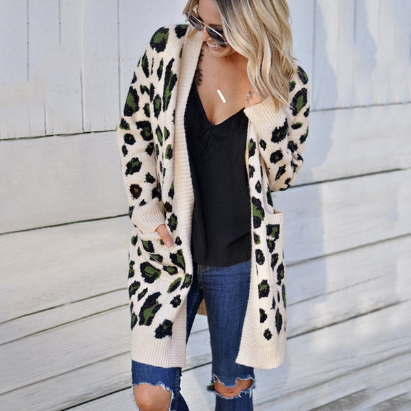 Long Sleeve Long Leopard Cardigan