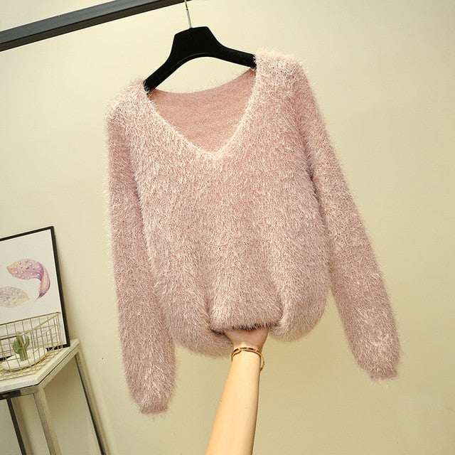 V-Neck Long Sleeve Mohair Knit Sweater