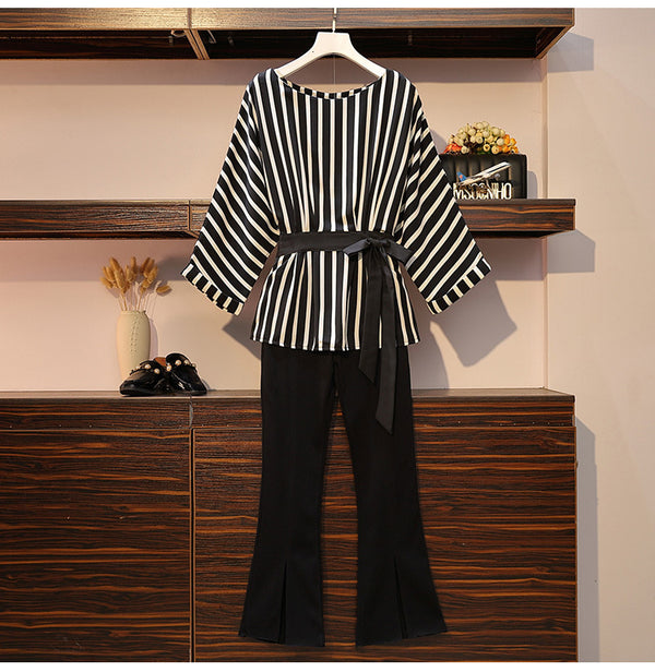Plus Size Long Sleeve Stripe Blouse Top And Black Trousers 2Pcs Suit