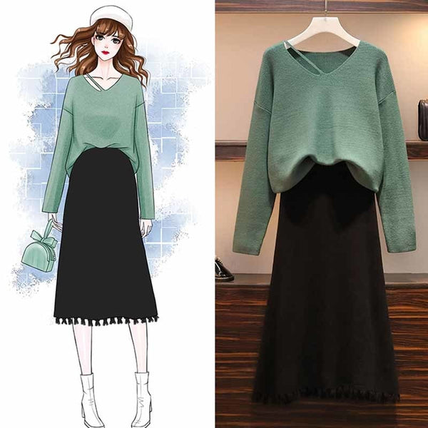 Plus Size Two Piece Casual Loose Pullover Sweater Top with High Waist Tassel Skirt