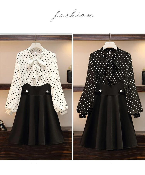 Plus Size Pleated Chiffon Polka Dot Fake Two Pieces Dresses