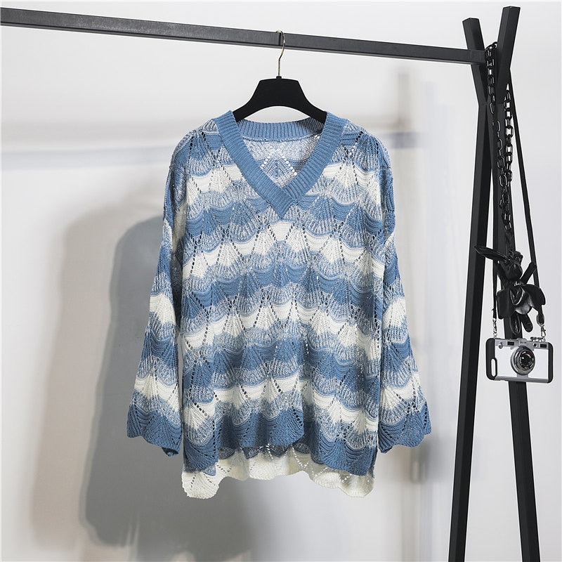 Thin Loose Long-sleeved V-neck Knit Sweater