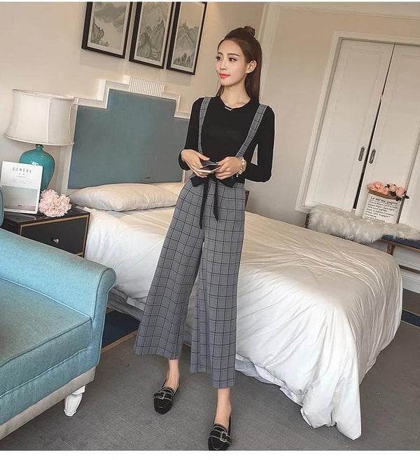 Two Piece Long Sleeve T-shirt with High Waist Plaid Bow Tie Up Wide Leg Pants Sets