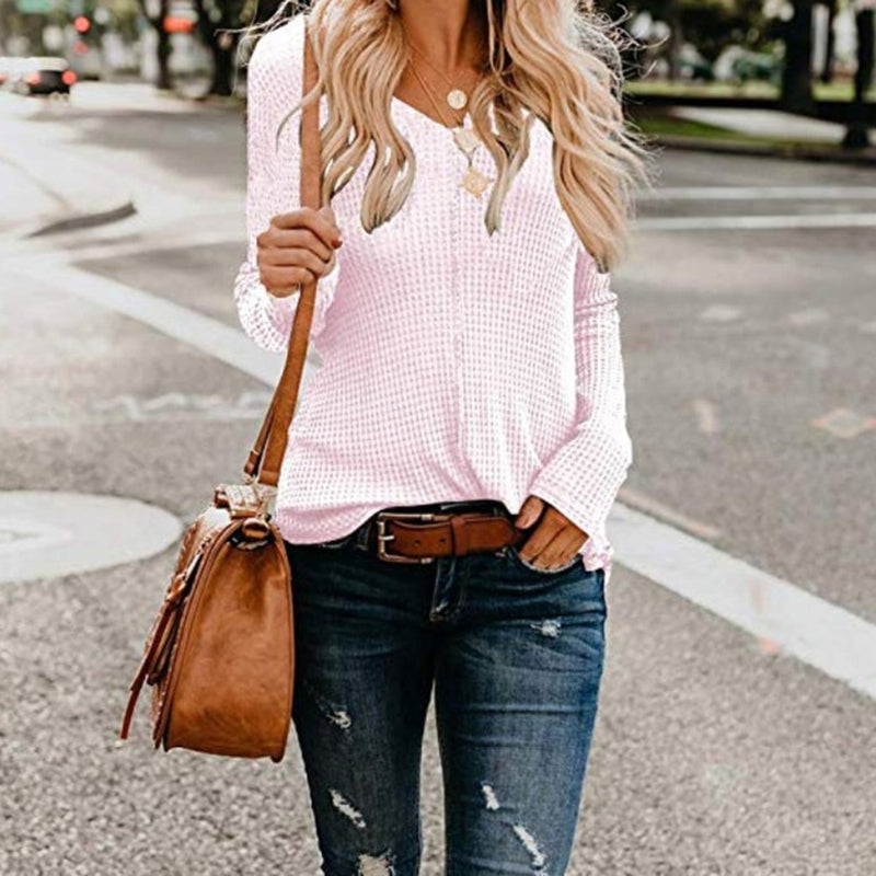 Solid V- Neck Long Sleeve Knitted Blouse