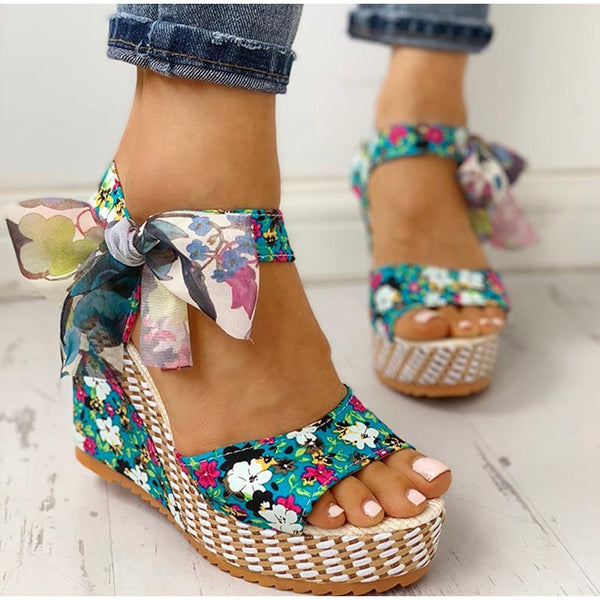 Platform Floral Bowknot Ankle Strap Peep Toe Wedge Sandals