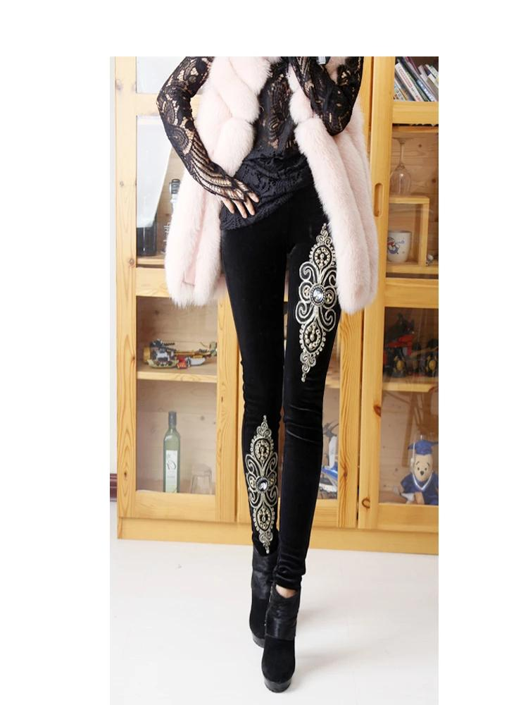 Pure Black Heavy Embroidery Beaded Velvet Trousers
