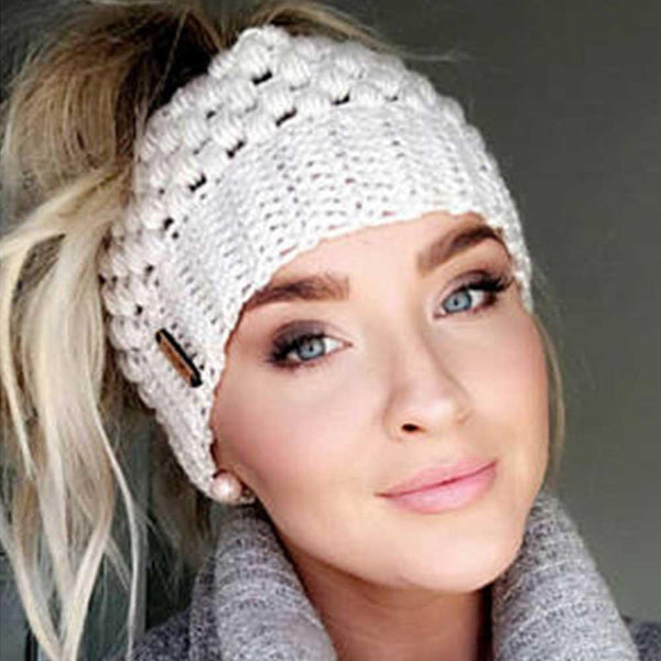 Crochet Knit Ponytail Beanie Hats