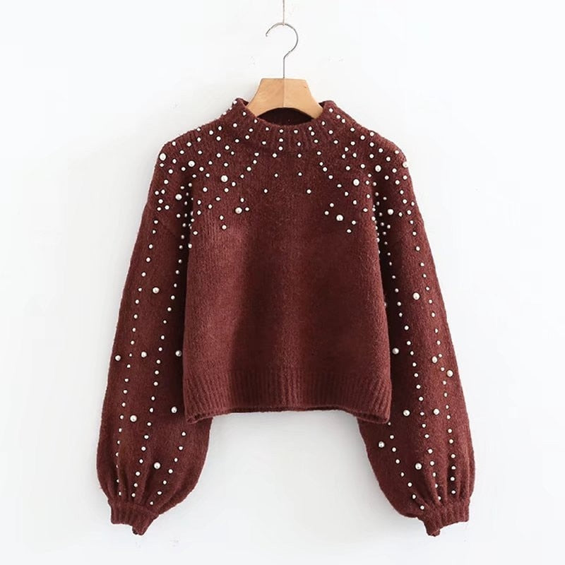 Pearl Turtleneck Knitted Lantern Sleeve Sweater