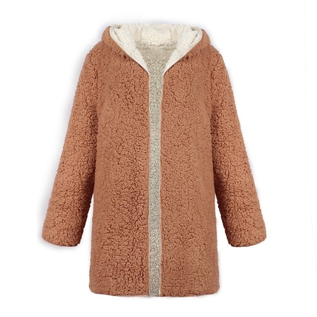 Plus Size Contrast Color Hooded Long Sleeve Thick Fleece Coat