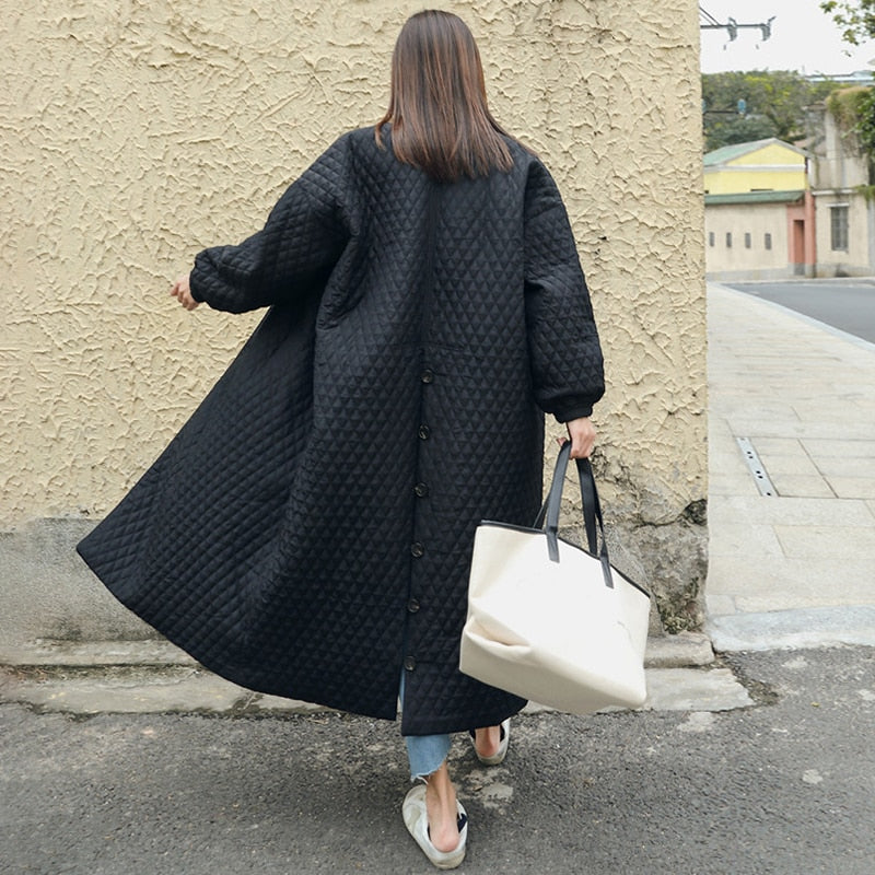 Black Oversize Lapel Back Vent Button Winter Jacket