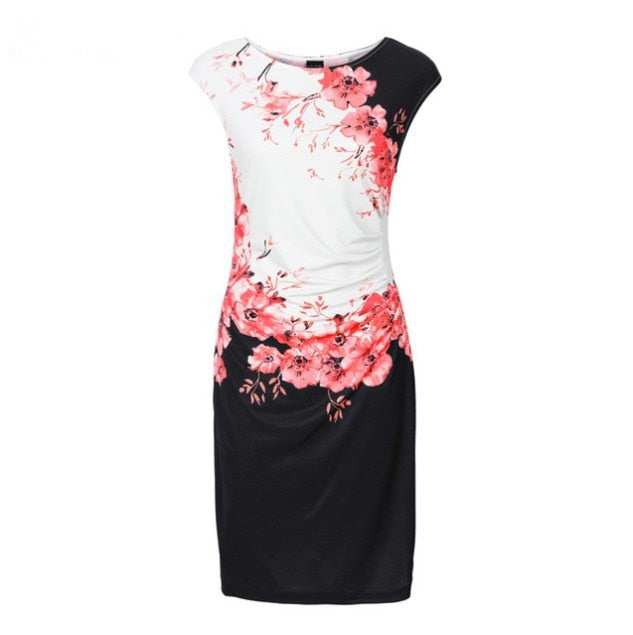 Casual Sleeveless O-Neck Print Dress
