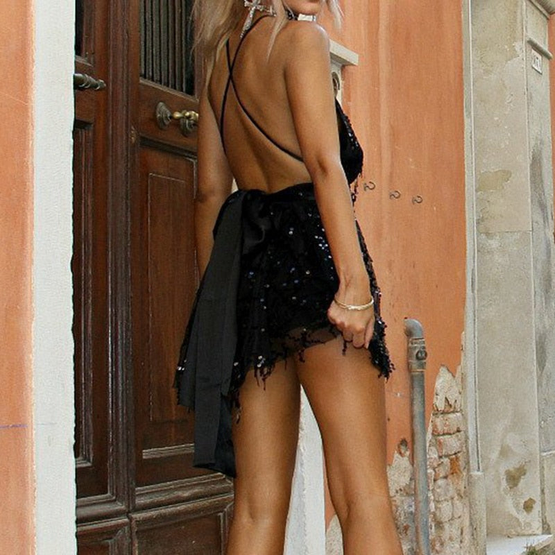 Backless Halter Black Gold Mini Tassel Dress