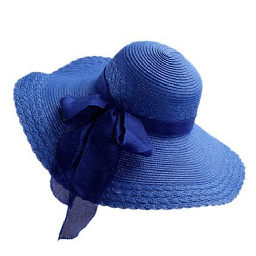 Ribbon Sun Visor Straw Hat