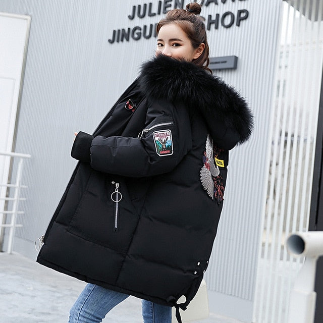 Long Embroidered Fur Hooded Parka Coats