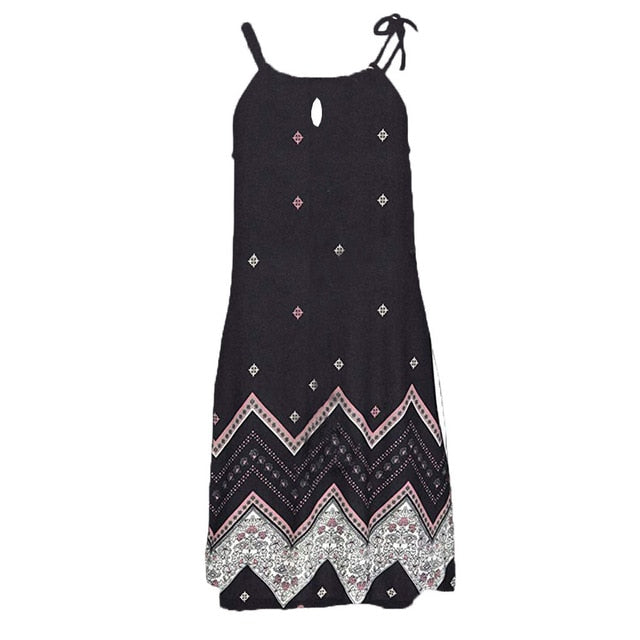 Sleeveless Print Bohemian Dress