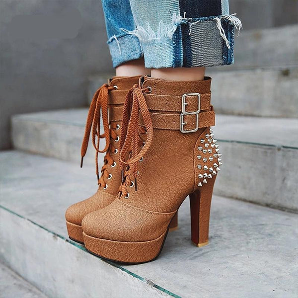 High Heels Thick Lace Up Round Toe Rivet Boot