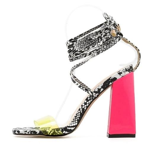 Serpentine High Heels Open Toe Ankle Strap Sandals