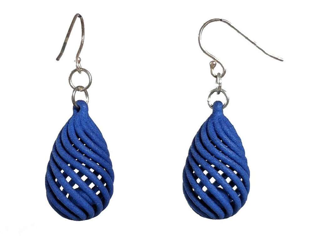 3D Printed Jewelry Spiral Drop Earrings With Ball Inside