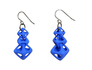 3D Printed Jewelry Geometric Linked Octohedron Earrings
