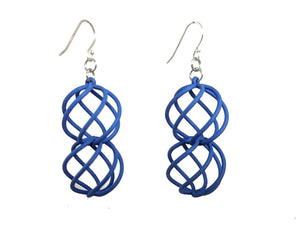 3D Printed Jewelry Spiral Sphere Linked Earrings