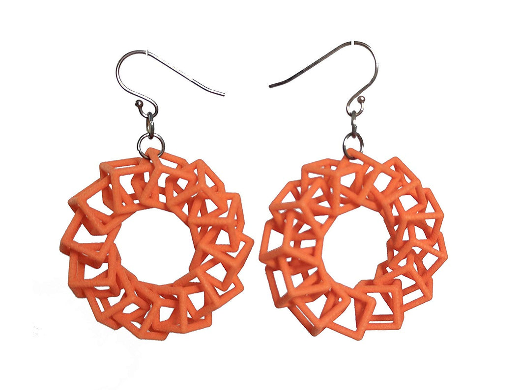 3D Printed Jewelry Cube Ring Earrings